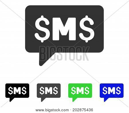 SMS Message icon. Vector illustration style is a flat iconic sms message symbol with black, gray, green, blue color variants. Designed for web and software interfaces.