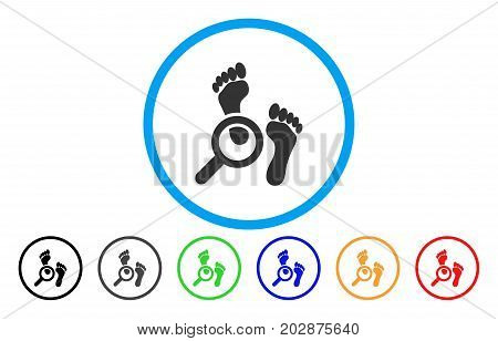 Audit Footprints rounded icon. Vector illustration style is a gray flat iconic audit footprints symbol inside a circle. Additional color versions are black, gray, green, blue, red, orange.