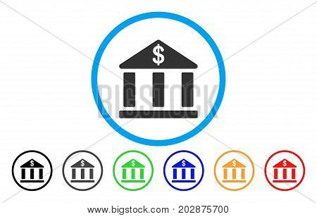 Bank Building rounded icon. Vector illustration style is a grey flat iconic bank building symbol inside a circle. Additional color versions are black, grey, green, blue, red, orange.