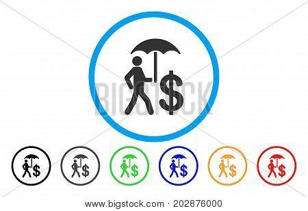 Banker Umbrella Protection rounded icon. Vector illustration style is a grey flat iconic banker umbrella protection symbol inside a circle. Additional color versions are black, gray, green, blue, red,