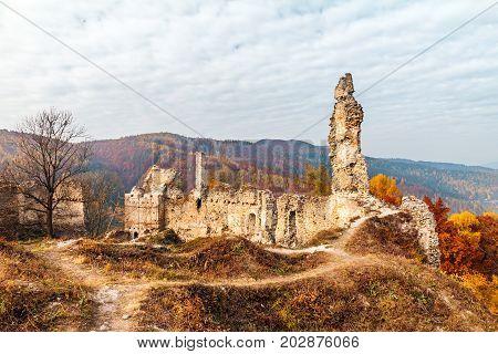Autumn landscape with Povazsky castle ruins Slovakia Europe.