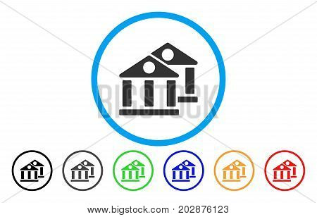 Banks rounded icon. Vector illustration style is a grey flat iconic banks symbol inside a circle. Additional color variants are black, gray, green, blue, red, orange.