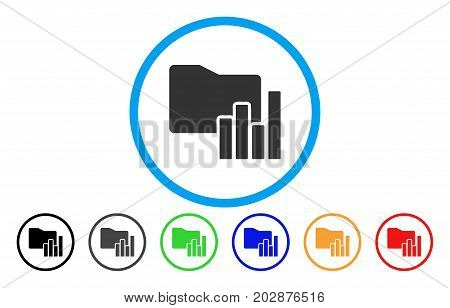 Charts Folder rounded icon. Vector illustration style is a grey flat iconic charts folder symbol inside a circle. Additional color versions are black, grey, green, blue, red, orange.