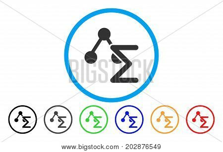Chemical Formula rounded icon. Vector illustration style is a gray flat iconic chemical formula symbol inside a circle. Additional color variants are black, gray, green, blue, red, orange.
