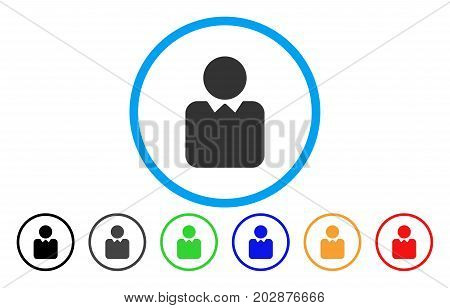 Client rounded icon. Vector illustration style is a gray flat iconic client symbol inside a circle. Additional color versions are black, gray, green, blue, red, orange.