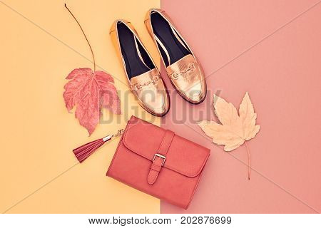Fall Fashion Glamour Lady Look. Autumn Minimal Design.Trendy Handbag Clutch. Fashion Stylish Glamour Gold Shoes. Yellow Fall leaves.