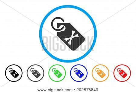 Death Bones Tag rounded icon. Vector illustration style is a grey flat iconic death bones tag symbol inside a circle. Additional color versions are black, gray, green, blue, red, orange.