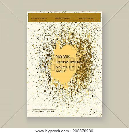 Gold Paint Splash, Splatter Explosion Glitter Artistic Frame Covers Design. Decorative Christmas Tex