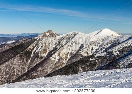 Snowy Landscape View Of Hills From National Park Mala Fatra In S