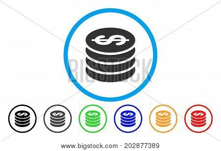 Dollar Coin Column rounded icon. Vector illustration style is a gray flat iconic dollar coin column symbol inside a circle. Additional color versions are black, gray, green, blue, red, orange.