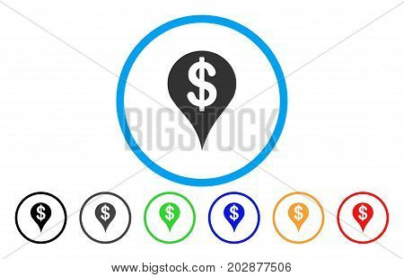 Dollar Map Marker rounded icon. Vector illustration style is a grey flat iconic dollar map marker symbol inside a circle. Additional color versions are black, gray, green, blue, red, orange.