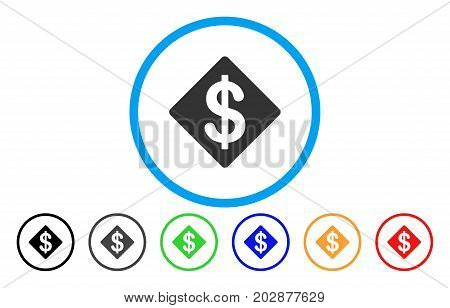 Dollar Rhombus rounded icon. Vector illustration style is a gray flat iconic dollar rhombus symbol inside a circle. Additional color variants are black, gray, green, blue, red, orange.