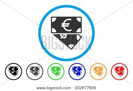 Euro And Dollar Banknotes rounded icon. Vector illustration style is a gray flat iconic euro and dollar banknotes symbol inside a circle. Additional color versions are black, gray, green, blue, red,