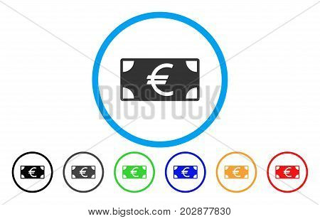 Euro Banknote rounded icon. Vector illustration style is a grey flat iconic euro banknote symbol inside a circle. Additional color variants are black, grey, green, blue, red, orange.