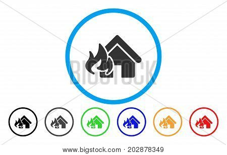 Fire Damage rounded icon. Vector illustration style is a gray flat iconic fire damage symbol inside a circle. Additional color variants are black, grey, green, blue, red, orange.