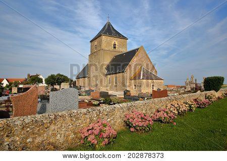 St Jean Baptiste Church in Audresselles, Cote d'Opale, Pas de Calais, Hauts de France