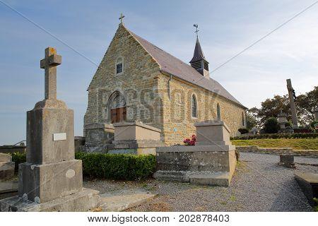 St Martin Church in Tardinghen, Cote d'Opale, Pas de Calais, Hauts de France