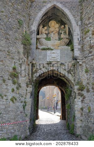 BOULOGNE SUR MER, FRANCE - AUGUST 28, 2017: The Town Gate Porte des Dunes, entrance to the Old Town, Cote d'Opale, Pas de Calais, Hauts de France