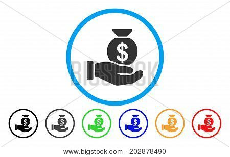 Invest Hand rounded icon. Vector illustration style is a grey flat iconic invest hand symbol inside a circle. Additional color variants are black, grey, green, blue, red, orange.