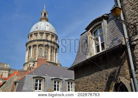 The Basilica of Notre Dame with roofs in the foreground, Boulogne sur Mer, Cote d'Opale, Pas de Calais, Hauts de France