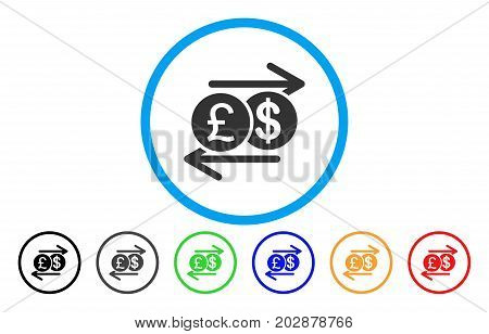 Pound Dollar Exchange rounded icon. Vector illustration style is a gray flat iconic pound dollar exchange symbol inside a circle. Additional color versions are black, grey, green, blue, red, orange.