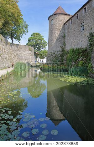 Reflections of the Castle Museum in Boulogne sur Mer, Cote d'Opale, Pas de Calais, Hauts de France