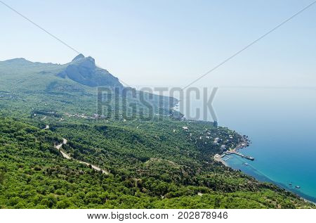view of the mountain and the sea from a height. Cape Aya, Crimea, Ukraine