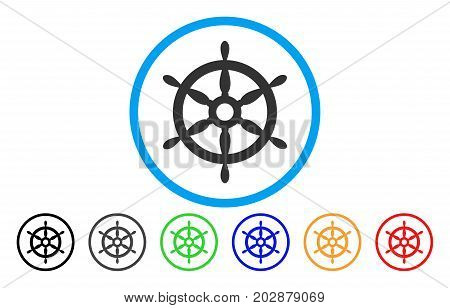 Ship Steering Wheel rounded icon. Vector illustration style is a gray flat iconic ship steering wheel symbol inside a circle. Additional color variants are black, grey, green, blue, red, orange.