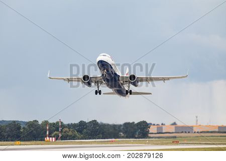 PRAGUE CZECH REPUBLIC - SEPTEMBER 03 2017: G-EUYP British Airways Airbus A320-200 taking off from Prague airport. This aircraft has registration G-EUYP .