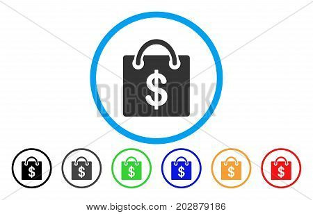 Shopping Bag rounded icon. Vector illustration style is a gray flat iconic shopping bag symbol inside a circle. Additional color versions are black, grey, green, blue, red, orange.