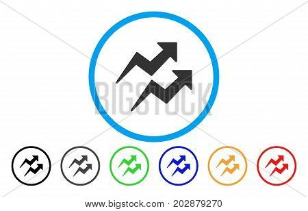 Trends Arrows rounded icon. Vector illustration style is a grey flat iconic trends arrows symbol inside a circle. Additional color variants are black, grey, green, blue, red, orange.