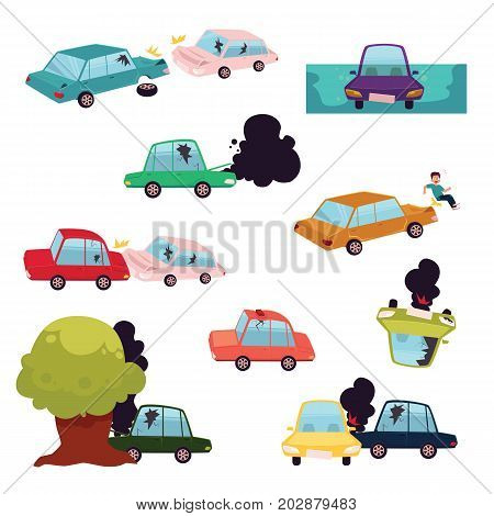 Car crash, road accident, motor vehicle collision set, flat cartoon vector illustration isolated on white background. Big cartoon set of colliding cars, road accident, knockdown, rollover, crash