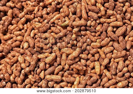 peanuts for sale on market, close up