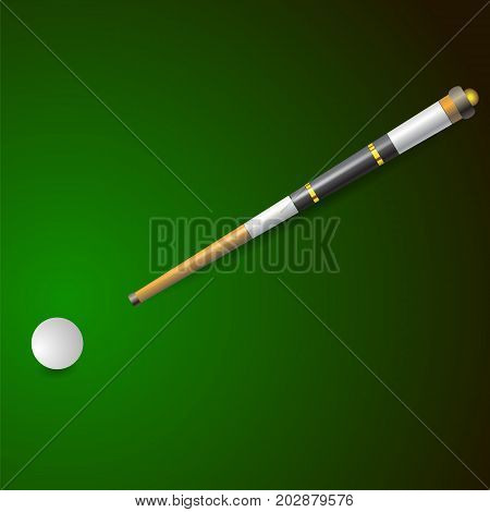 White Ball and Wooden Cue for Billiards Isolated on Green Blurred Background