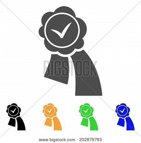 Approved Seal vector icon. Style is a flat graphic symbol in grey, black, yellow, blue, green color variants. Designed for web and mobile apps.