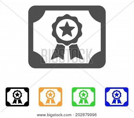Authorize Diploma vector pictogram. Style is a flat graphic symbol in gray, black, yellow, blue, green color versions. Designed for web and mobile apps.