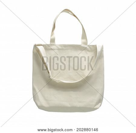 blank canvas cotton tote bag on white background