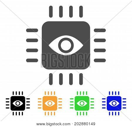 Bionic Eye Processor vector icon. Style is a flat graphic symbol in grey, black, yellow, blue, green color variants. Designed for web and mobile apps.
