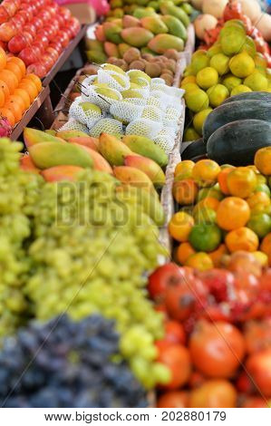 Various fruits and vegetables selling on market