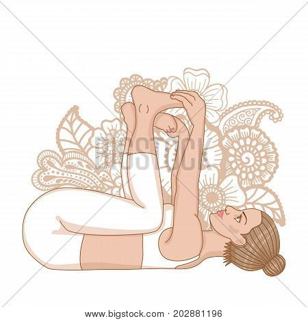 Women silhouette. Happy baby, dead bug yoga pose. Ananda Balasana Vector illustration