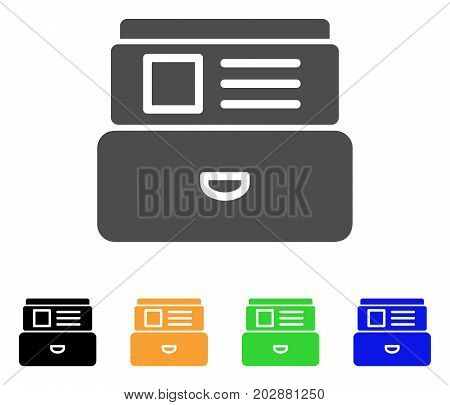 Card Index vector pictograph. Style is a flat graphic symbol in gray, black, yellow, blue, green color variants. Designed for web and mobile apps.