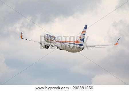 PRAGUE CZECH REP - SEPTEMBER 03 2017: Smartwing Boeing 737-800 take off incloudy day from PRAGUE. Smartwings is lowcost company of Travel Service