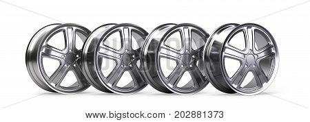 Set of four aluminum alloy wheels. 3D illustration high quality resolution. Isolated on a white backround.