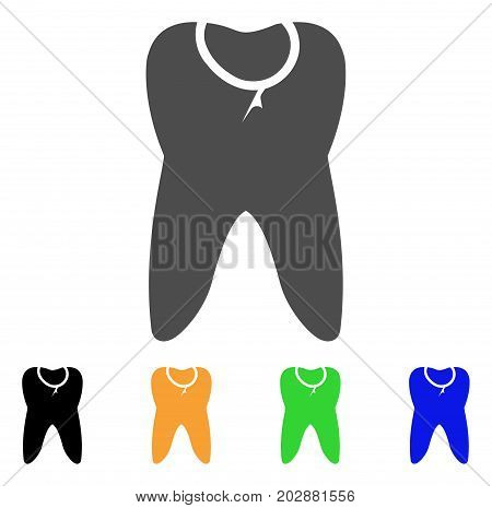 Caries Tooth vector pictograph. Style is a flat graphic symbol in gray, black, yellow, blue, green color variants. Designed for web and mobile apps.
