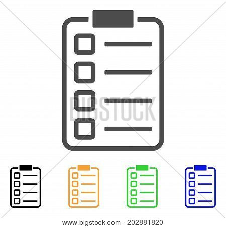 Checklist Pad vector pictograph. Style is a flat graphic symbol in grey, black, yellow, blue, green color variants. Designed for web and mobile apps.