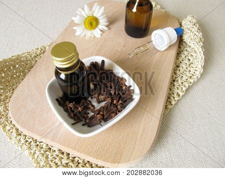 Homemade insect repellent with cloves oil to applied to skin