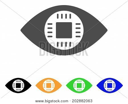 Chip Eye Lens vector icon. Style is a flat graphic symbol in gray, black, yellow, blue, green color versions. Designed for web and mobile apps.