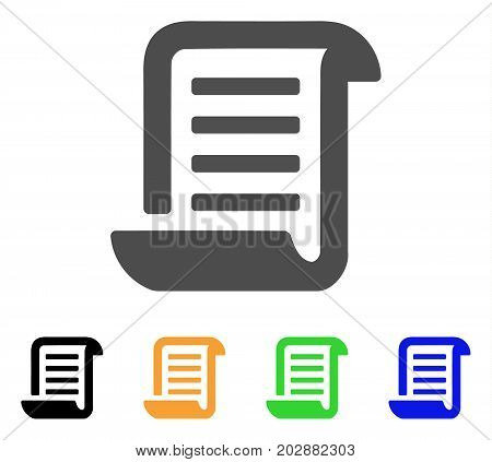 Conclusion Roll Document vector pictogram. Style is a flat graphic symbol in grey, black, yellow, blue, green color variants. Designed for web and mobile apps.