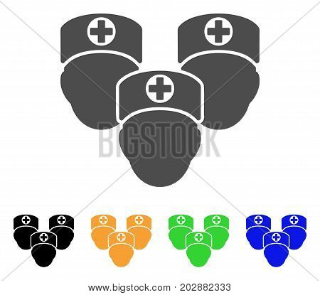 Consultation Medic Group vector pictogram. Style is a flat graphic symbol in grey, black, yellow, blue, green color versions. Designed for web and mobile apps.