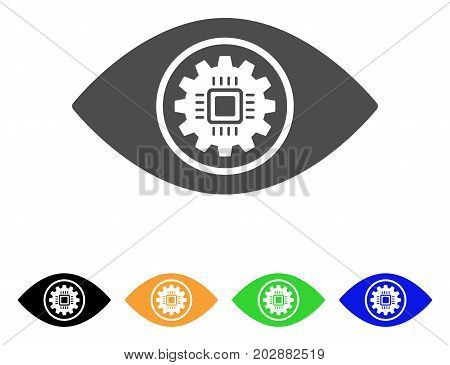 Cyber Eye Lens vector pictograph. Style is a flat graphic symbol in grey, black, yellow, blue, green color versions. Designed for web and mobile apps.